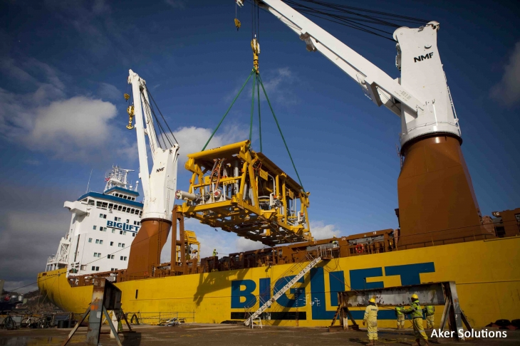 Aker Solutions Manifold Being Offloaded From Lift Ship