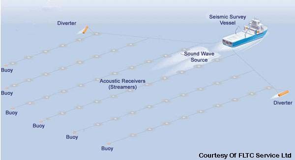 Offshore seismic survey vessel infographic