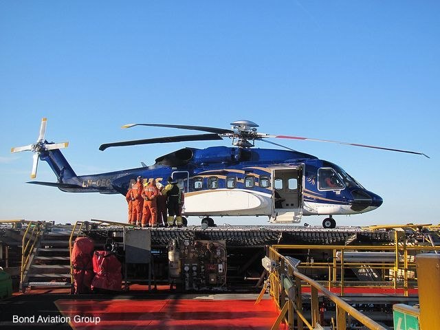 A Bond S92 Helicopter Shutdown On An Offshore Platform Helicopter Deck