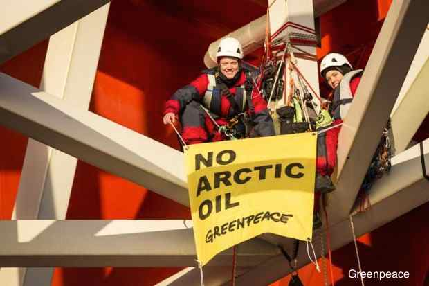 Greenpeace Protesters Onboard An Arctic Rig