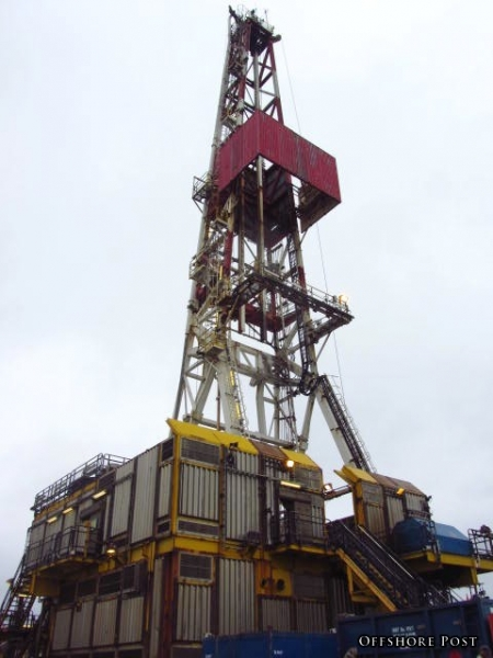 The Derrick Of Shell's Gannet Alpha, North Sea.  Both Crown And Monkey Board Can Be Clearly Seen