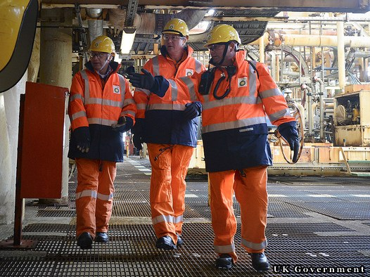 UK Prime Minister (c) On A Tour Of BP's ETAP Platform UK North Sea