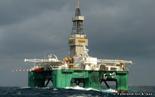 Drill Rig Eirik Raude, Currently Exploring The North Falkland Waters. Discovers Oil Offshore Falklands