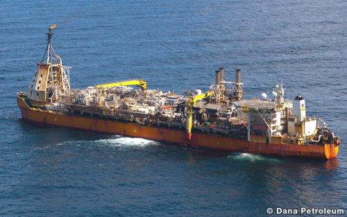 The Dana Petroleum Operated, North Sea Triton FPSO from the air