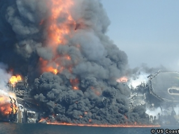 The Deepwater Horizon Ablaze, Capsized And Sinking