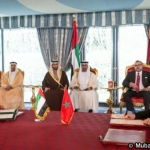 HH Sheikh Mohamed bin Zayed Al Nahyan Crown Prince of Abu Dhabi and HM King Mohammed VI of Morocco Witnessing The Agreement Signing