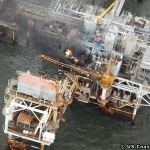 The Fire Takes Hold The Breton Sound Offshore Platform. US Coast Guard