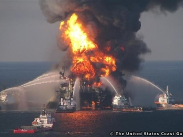 The Deepwater Horizon Drilling Rig Ablaze