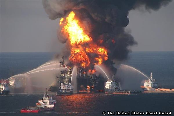 The Deepwater Horizon Drilling Rig Ablaze