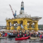 Protesters Against Arctic Drilling Gather Around Polar Pioneer Drill Rig In Seattle Port