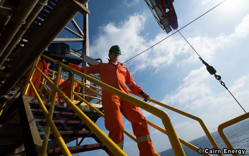 Workers At A North Sea Cairn Energy Platform