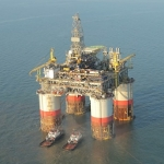 Chevron's Big Foot Platform On Tow In The Gulf of Mexico