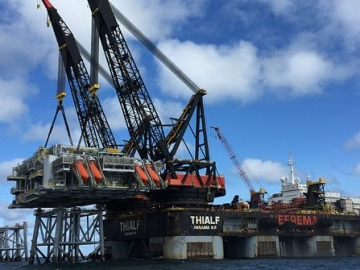 Clair Ridge Modules Being Installed By Heerema's Heavy Lift Vessel- The Thialf