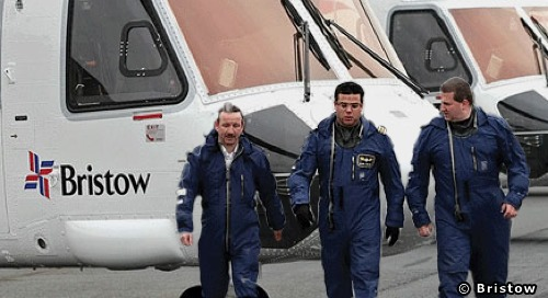 A Bristow Helicopters Crew At Aberdeen Airport