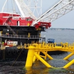 Installation Of Deepwater Wind's First Turbine Foundation Offshore Block Island, RI