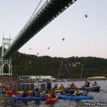 Greenpeace Activists Abseil Off Bridge To Blockade A Vessel In Port