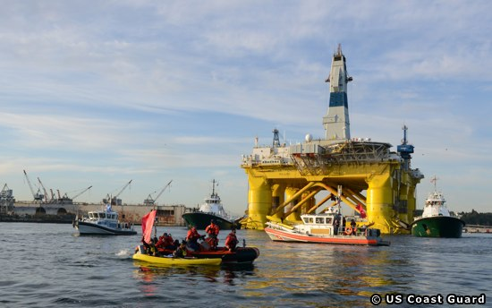 US Coast Guard Enforcing A Safety Zone Around The Polar Pioneer Rig In Seattle