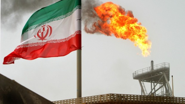 An Oil Platform Flare Boom In Iran