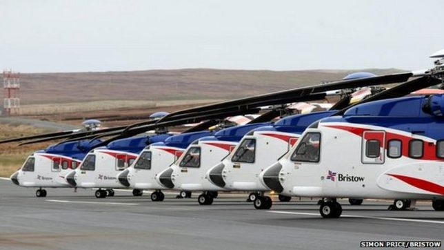 Bristow's Fleet Of S92 Offshore Helicopters At Scatsta Airport,