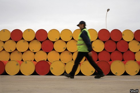 Barrels Of Crude Oil At Shell Storage Plant
