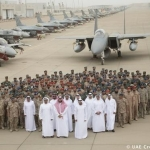 His Highness Sheikh Mohamed bin Zayed Al Nahyan, Crown Prince of Abu Dhabi and Deputy Supreme Commander of the UAE Armed Forces With UAE Airforce Fighter Jets In Abu Dhabi