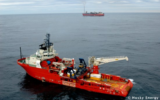 Offshore Supply Vessel Atlantic Osprey With Husky Energy's Offshore White Rose Field In Background