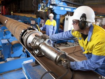 Workers At Tata Steel Hartlepool Fabricating Steel Pipeline For Oil & Gas