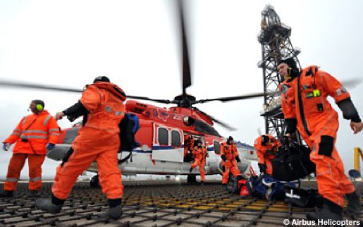 A CHC EC225 Offshore Helicopter Onboard A Drilling Rig Helideck