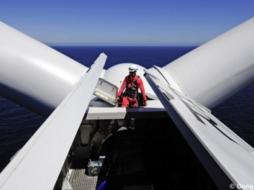Maintenance Technician On An Offshore Wind Turbine