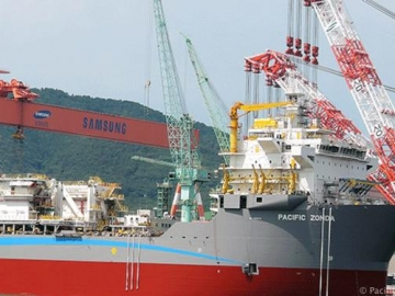 Pacific Drilling's Half Build Drillship, Pacific Zonda, Samsung Shipyard