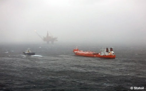 The Offshore Oil Spill Location, With Statfjord A, Hilda Knutsen And Standby Vessel In Sight