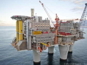 Statoil's Giant Offshore Gas Platform, Troll A, North Sea