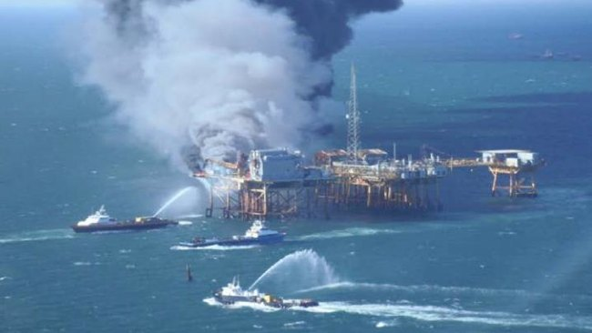Explosion & Fire On Black Elk Delta 32 Offshore Oil Platform