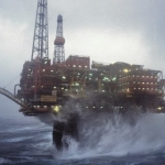 Shell Brent Charlie Platform In A North Sea Storm