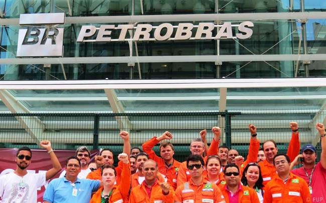 Offshore Oil And Gas Workers Protesting Outside Petrobras