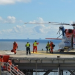 Offshore Oil And Gas Workers Arriving On North Sea Platfrom