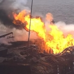 SOCAR Gunashli Offshore Platform Fire Continues To Rage After Almost A Month