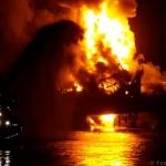 Offshore Platform Fire, Socar Platform 10. © Archie Goodwin