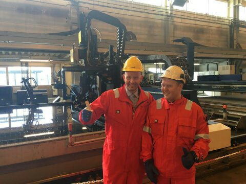 Statoil Johan Sverdrup Accommodation Module Steel Cutting. Norwegian Minister For Energy And Petroleum