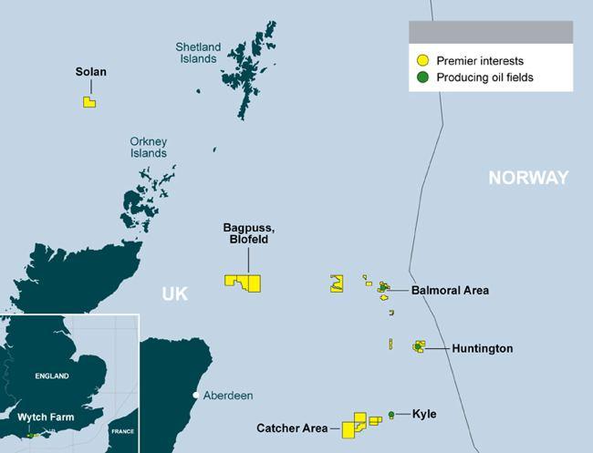 Premier Oil UK Production Map