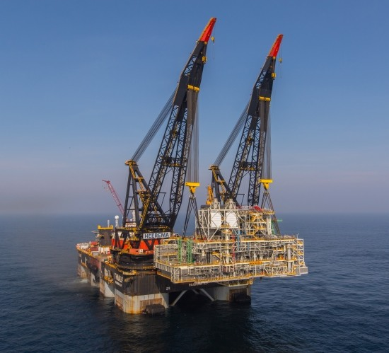 Montrose Platform Installation By Heerema Thialf Crane Barge