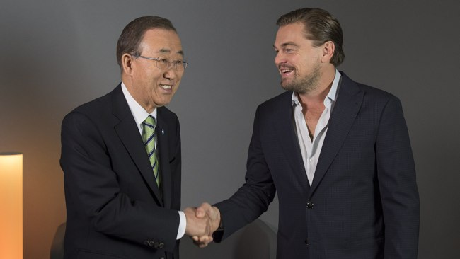 To Be Seen At The UN Climate Change Conference, Ban Ki-moon & Celebrity Leonardo di Caprio