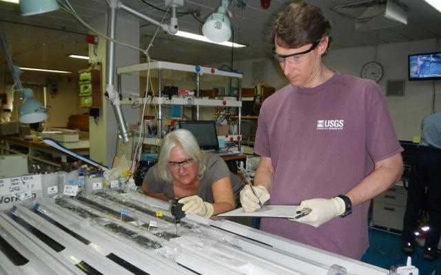 USGS Scientists Dr. William Waite (Right) and Dr. Pamela Swarzenski