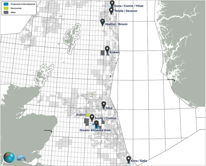 EnQuest Oil And Gas Offshore Exploration & Production Map, North Sea