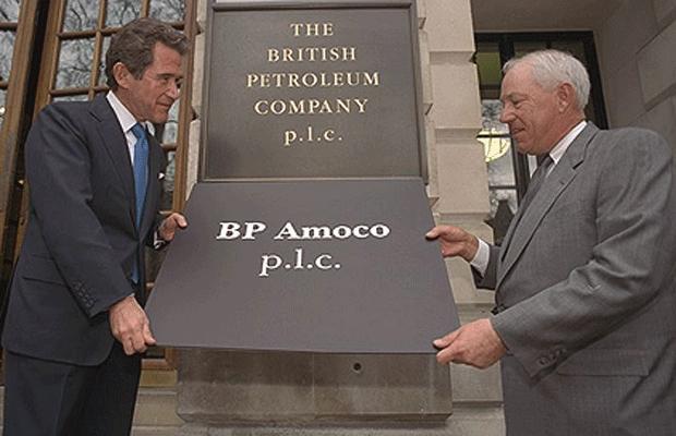 Oil Companies BP and Amoco merge to make BPAmoco, BP CEO Lord John Browne left